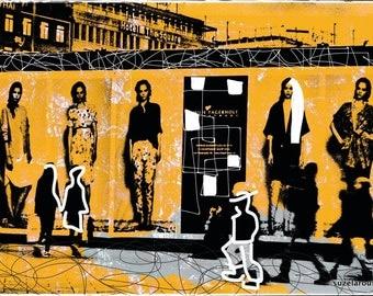 Copenhagen, city, photography, yellow, Mixedmedia, Streetlife, overpaint, artwork, print, Denmark, Danmark, PopArt, bunt, shopping, fashion