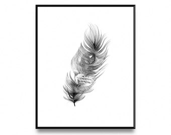 Feather Cat, Wall Art Poster Print with Instant Printable Digital Download