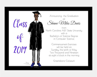 Male African American Graduation Announcement (set of 10), High School/College Graduation Party Invitation
