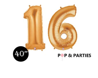 SHIPS FAST - Giant Gold Number 16 Balloons, Sweet 16 Gold Balloons, Gold Decorations, Giant Number Balloons, Gold Party Decorations