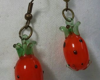 Pineapple glass earrings