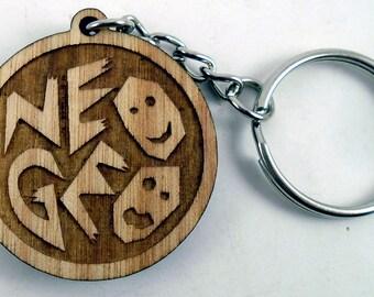 Neo Geo Logo Laser Engraved Wood Keychain