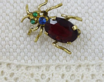 Victorian Garnet And Crystal Bug Brooch Pin