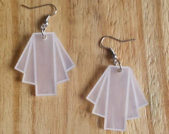art deco acrylic laser cut earrings