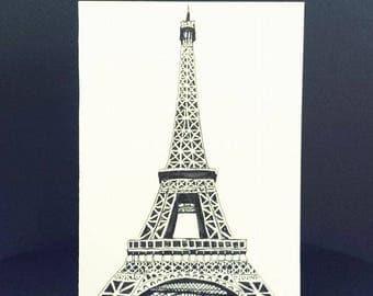 Hand Drawn Card (Handmade), Eiffel Tower Card, Eiffel Tower Stationary, Paris Card, Paris Staitonary