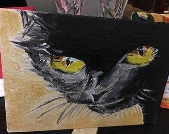 Black cat in Acrylic Paint