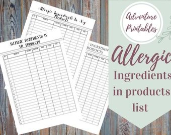 Allergic Ingredients In Products Printable List, Business Planners, Small Business Planner, Allergies List In Handmade Products