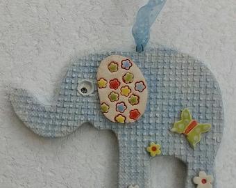 Baby Blue Pottery Elephant
