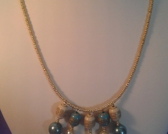 Simply pretty blue gold necklace women