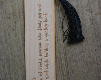 Wooden bookmark- Bibliophile definition