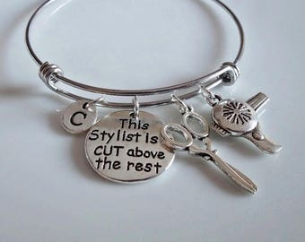 Stylist Bangle, ''This stylist is a cute above the rest'' Hairstylist Bangle, scissors Hairdryer charm, Hair Stylist Graduation gift