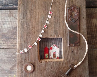 Recycled wood panel with vintage items, Fiesta!