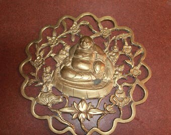 Vintage Brass Buddha Wall Hanging
