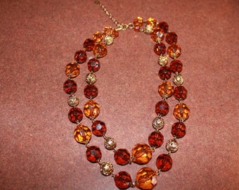 Vintage Robert Rose Double Strand Two Tone Brown Czech Beaded Necklace