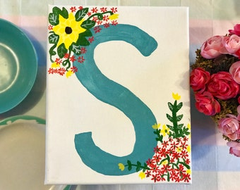 Letter S sign / Initial sign / Last name sign / Canvas Sign / Gift for her / Baby shower sign /