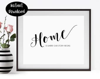 Printable Quote Home is Where Our Story Begins Home Decor Wall Art Housewarming Gift Minimalist Print Digital Download INSTANT DOWNLOAD