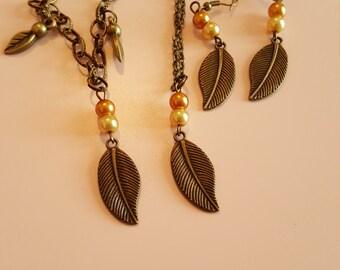 leaf necklace set