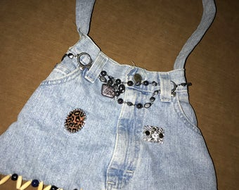 custom made jean skirt purse