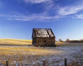 Old barn late in the fall and under the moon, Saint-Léon-de-Standon.