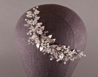 Silver Leaf Bridal Headpieces, Wedding hair Headpieces, Rustic Woodland, Bohemian Head Piece, Boho Hairpiece, Grecian Leaves, Leaf Hair Vine