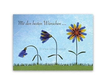 Get well card get well - pressed flower motif