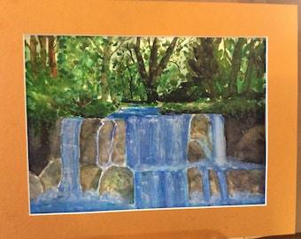 Original art, watercolor painting, The waterfall