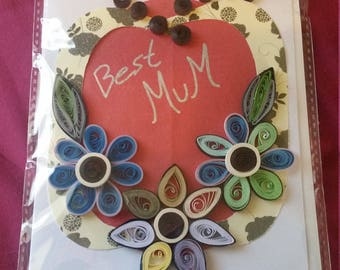 Best mum paper quilled card , mothersday card , paper quilling card , floral greeting card