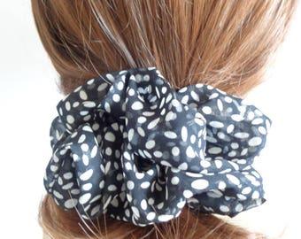 Balck  and white chiffon  Scrunchie, Chouchou, hair accessories, handmade by ScrunchiesCo