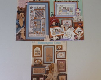 Cross Stitch Pattern Books, Set of 3 - Love Needlework, Homespun Love and Country Spoken. NOS (S073)