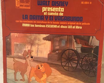 Lady and the Tramp book with Vinyl Record. (In Spanish)