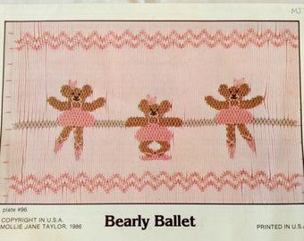 Smocking plate ballet bears Pattern smocked bears heirloom sewing patterns Smocking  patterns Mollie Jane Taylor pattern