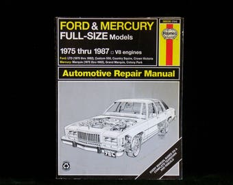 Vintage Haynes Ford And Mercury Full Size Models 1975 Thru 1987 V8 Engines Repair Manual 36036 754