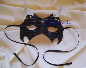 Black leather studded mask,Masquerade,Halloween Demon Mask.