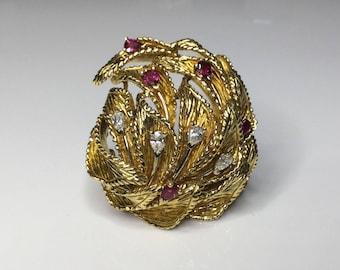 Estate Vintage Designer Dankner 18K Gold 2 CTW Ruby & Diamond Pendant Brooch 31G