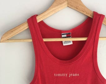 Vintage 90s Tommy Jeans Ribbed Tank Top | Size S | Women's Vintage Clothing