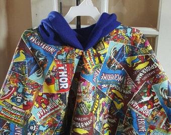 "Superhero ""Anthony"" brand Fleece lined Hooded Poncho cloak"