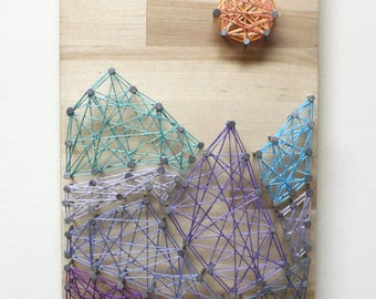 Mountain Valley String Art - Nature String Art, Mountain String Art, Scenic String Art, Mountain Peak String Art, Hilltop String Art