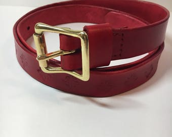 Women's Handmade Leather Belt Square Buckle