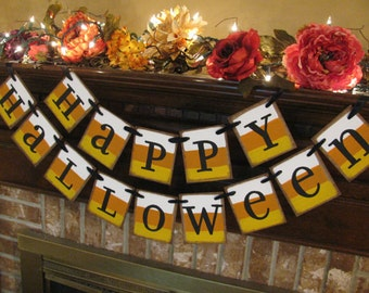 Happy Halloween Candy Corn Banner