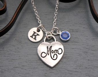 Mom Heart Necklace, Personalized Mom Necklace, Mom Initial Necklace, New Mom Necklace, New Baby Gifts, New Mom Gifts, Mom Gifts, Custom