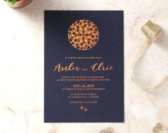 Moroccan-Ball Wedding Invitation - Elegant Foil Stamping, Navy 16065