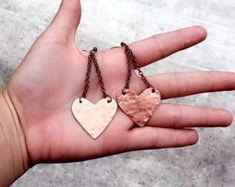 hammered heart dangles