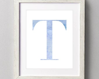 Letter T | Nursery Print | Nursery Art | Alphabet | Instant Download | Digital Print | Wall Art | Baby Boy | Initials | Blue | Watercolor