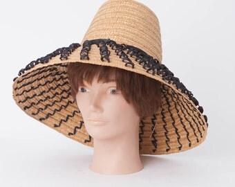 Vintage Women's Italian Sun Beach Hat, Large Straw Beach Hat, Large Brim Made in Italy Tan Straw Sun Hat Black Woven straw, Audrey Hepburn