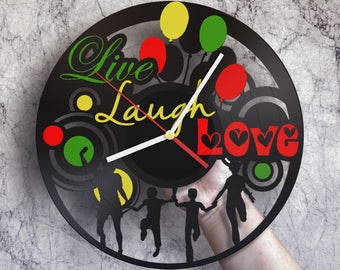 Gift ideas for mom, I love you mom, Birthday gift for daughter, Hand made wall clock, Live laugh decor, Live laugh love wall art