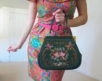 Vintage 1950's Green Needlepoint Handbag   Floral Needlepoint Bag   Vintage Needlepoint Purse  