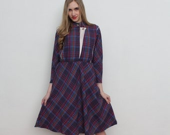 Vintage Purple Checkered Dress Long Sleeves