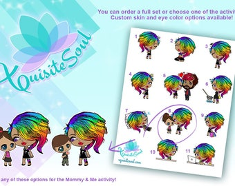 Chioma Unicorn Girl Activity Stickers for Erin Condren Planner/ Rainbow Hair Chibi/ Punk Rock Girl/ Custom Stationery Accessories