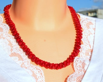 coral necklace, necklace red bamboo boral red coral, summer jewelry, wedding jewelry ,red wedding bridal