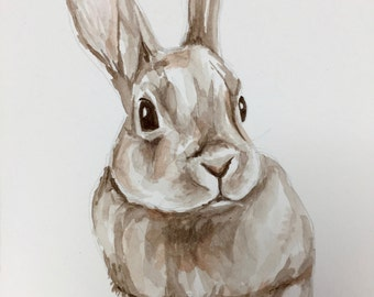 Handmade painting of a bunny
